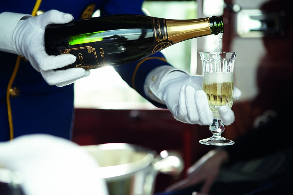 champagne on the Belmond Venice-Simplon Orient-Express luxury train